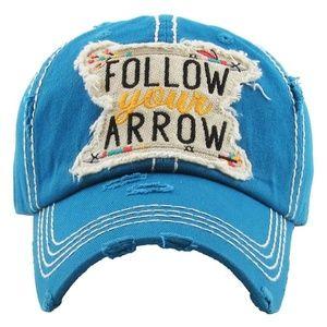 Women One Size Follow Your Arrow Distress Cap Blue